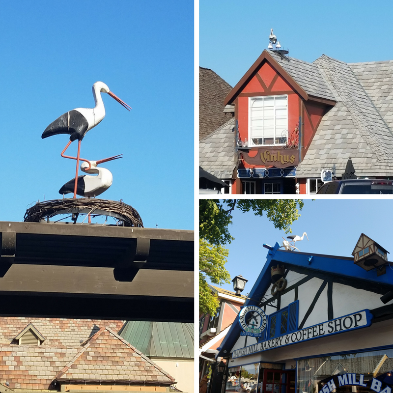 Solvang CA, Stork statues on rooftops,
