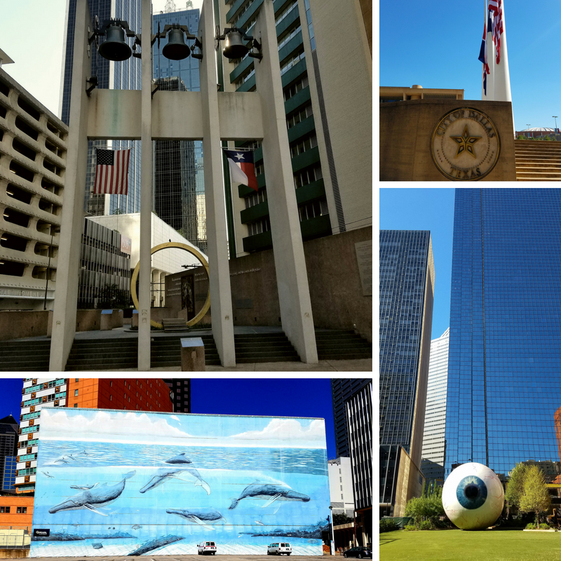 Downtown Dallas City Hall Art Murals Thanksgiving Square Plaza