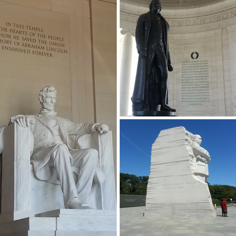 Washington DC National Mall Abe Lincoln Thomas Jefferson Martin Luther King, Jr Memorials