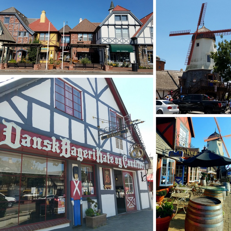 Danish Architecture in Downtown Solvang, various buildings including their iconic windmills