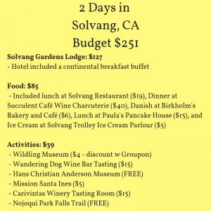 Budget for a 2 Day Trip to Solvang California