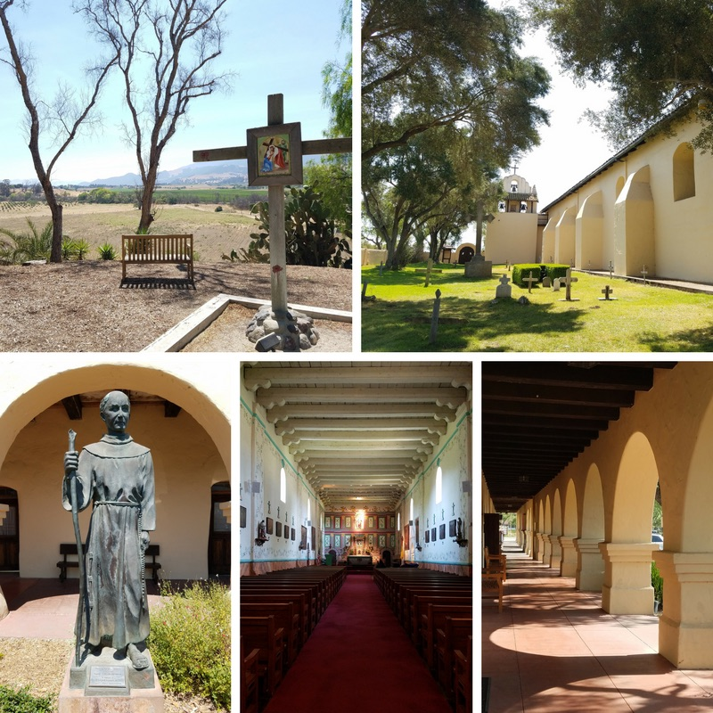 Mission Santa Ines, Statue of Father Junipero Serra, Stations of the Cross, and Cemetery in Solvang CA