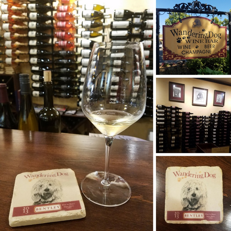 Interior and exterior of the Wandering Dog Wine Bar, Solvang CA