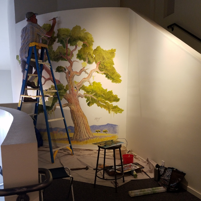 A Might Oak mural by John Iwerks at the Wildling Museum of Art & Architecture in Solvang CA