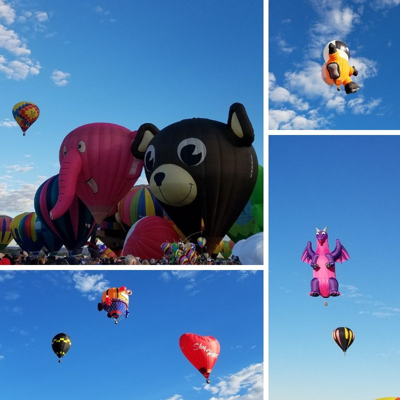 Elephant, Teddy Bear, Astronaut, Heart and Dragon shaped hot air balloons