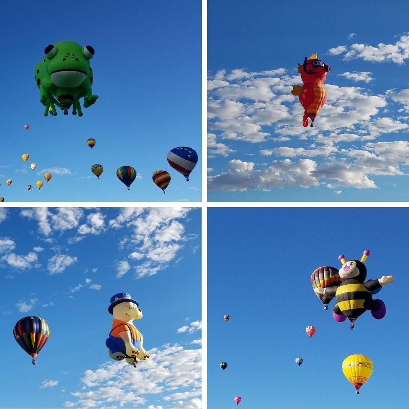 Frog, Seahorse, Dog, and Bumble Bee Hot Air Balloon Characters