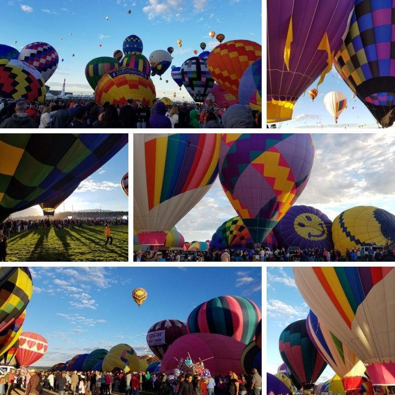 Hot Air Balloons fill up and launch into the sky.