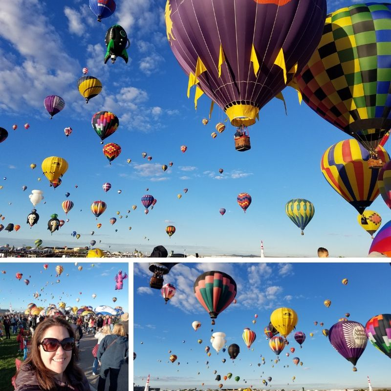 Albuquerque NM Balloon Fiesta, colorful balloons fill the sky