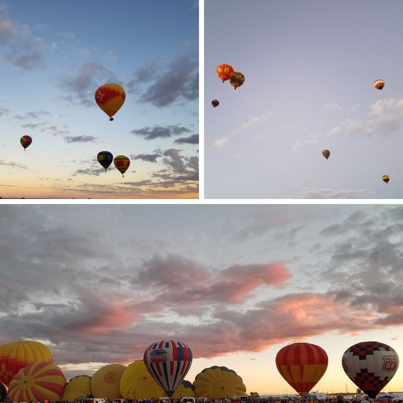 Hot Air Balloons against the morning sky as the sunrise starts