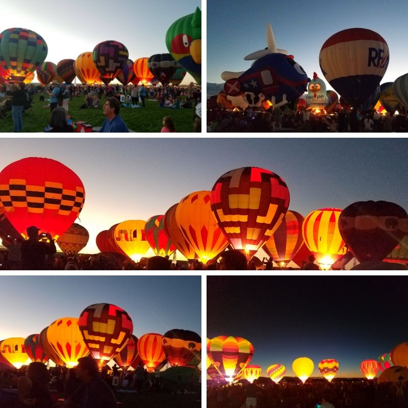 Hot Air Balloons light up against the night sky.