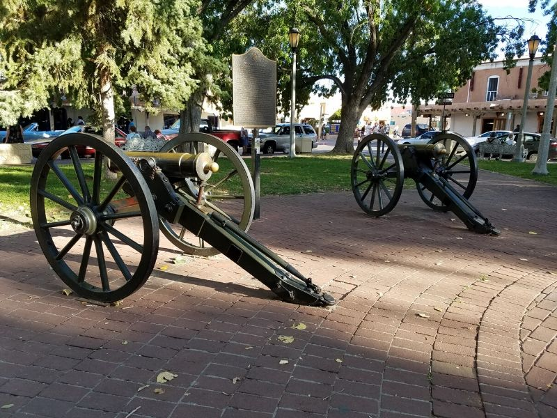 Two Replica Howitzer Cannons in Old Town Albuquerque New Mexico