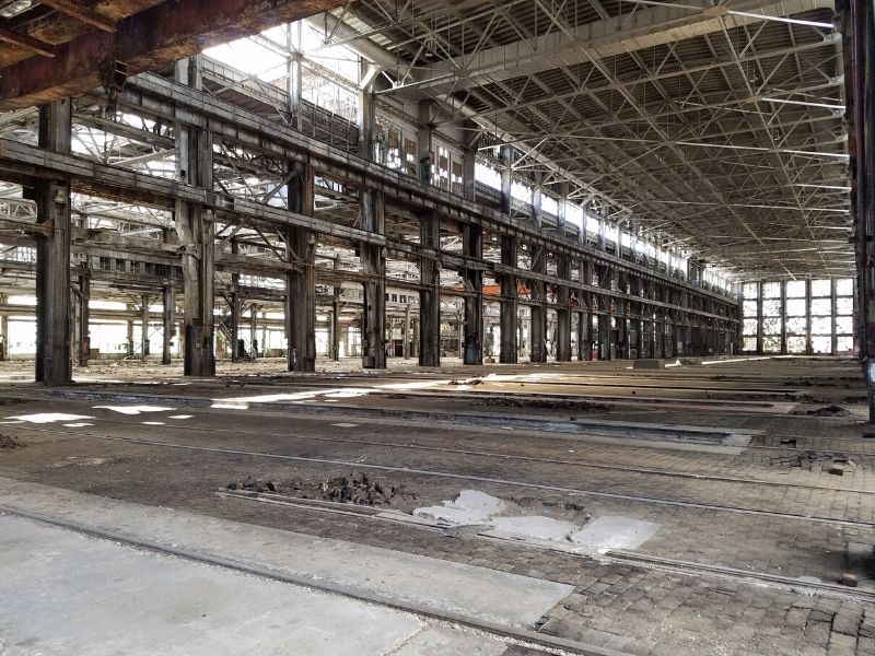 Inside of abandoned building at the Albuquerque Rail Yards