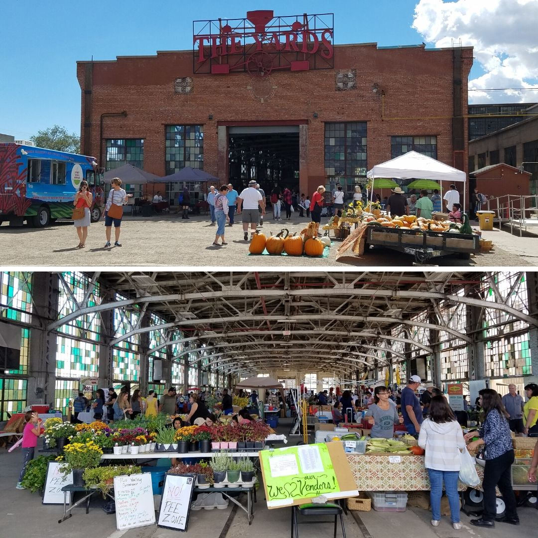 Exterior and Interior views of the Rail Yards Market in Albuquerque