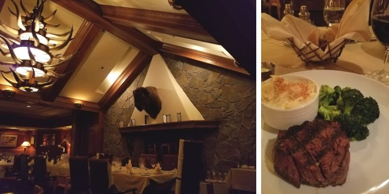 Restaurant with Bull Horn Chandelier and Buffalo Head over the fireplace; steak dinner with broccoli and cheesy pasta