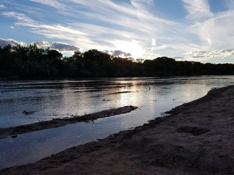 Sunset over the Rio Grande River in Albuquerque New Mexico