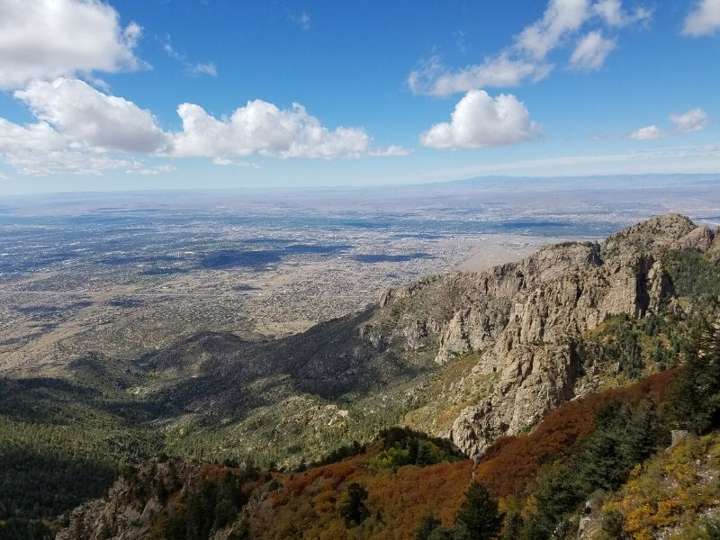 View from top of Sandia Peak with Albuquerque seen below in the distance
