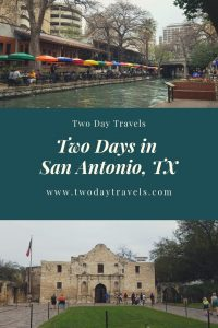 Pinterest pin showing Riverwalk and The Alamo in San Antonio TX