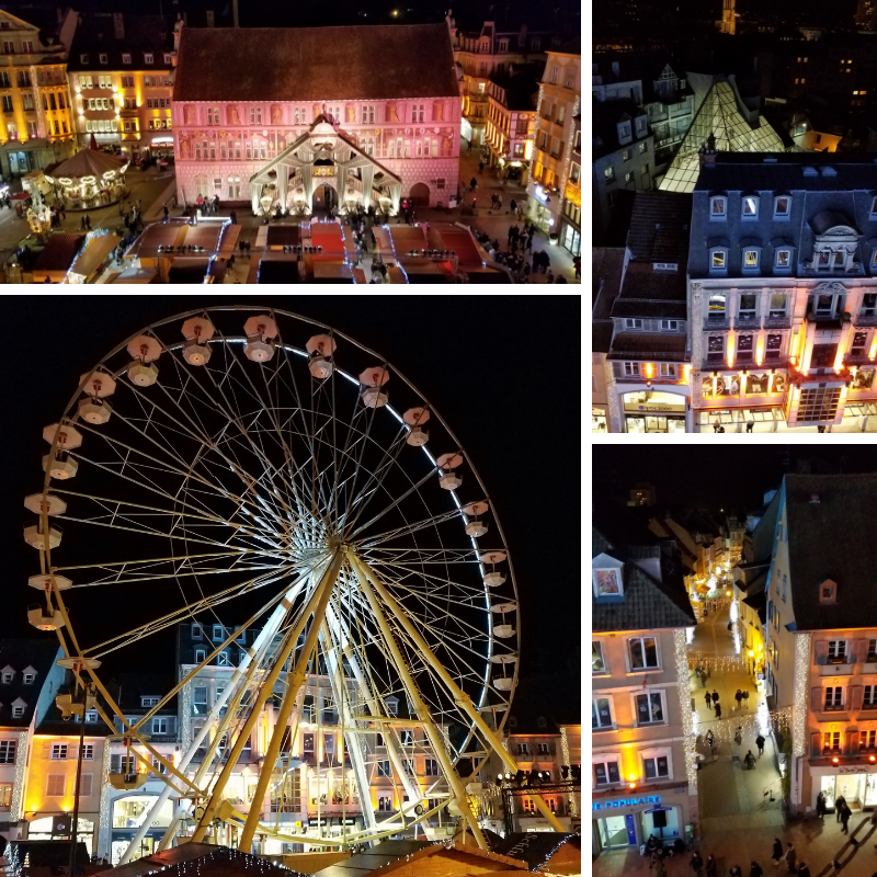 View from the Ferris Wheel at Mulhouse Christmas Market in France