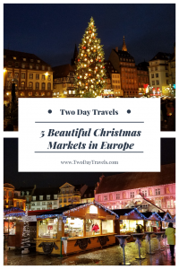 Great Tree at Place Kébler in Strasbourg France and Christmas Market Stalls in Mulhouse France