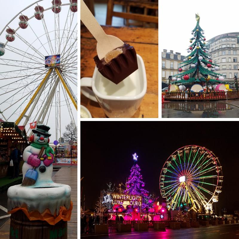 Luxembourg City Christmas Market, Ferris Wheel, Christmas Tree, Hot Chocolate