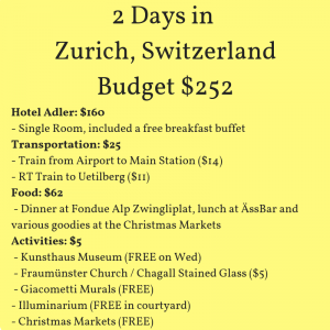 Budget for Zurich Christmas Markets in December