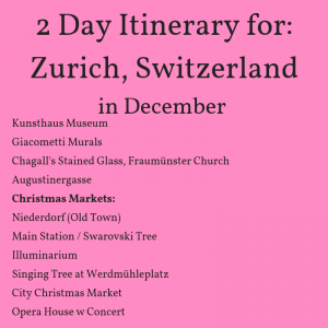 Itinerary for Zurich in December