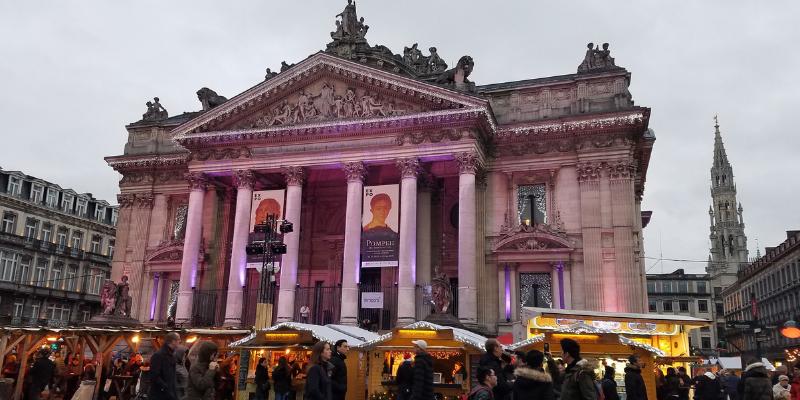 Place de la Bourse, Christmas Market Brussels Belgium