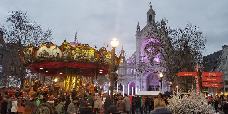 Eglise Sainte Catherine, Christmas Market, Brussels Belgium