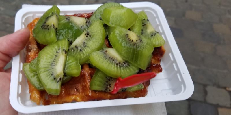 Belgian Waffle with Kiwi, Brussels Belgium