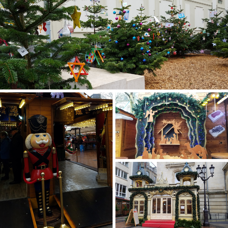 Christmas Trees, Nativity Scene, Nutcracker decoration at Luxembourg City Christmas Markets, Place d'Armes