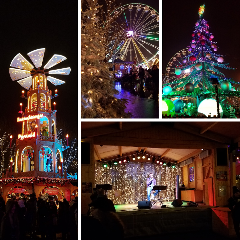 Night time Ferris Wheel, Christmas Tree, Stage, Tower at the Place de la Constitution, Luxembourg Christmas Market