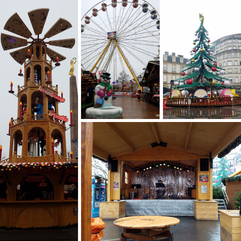 Ferris Whee, Christmas Tree, Music Stage, Christmas Decorations at Luxembourg City Christmas Market, Place de la Constitution
