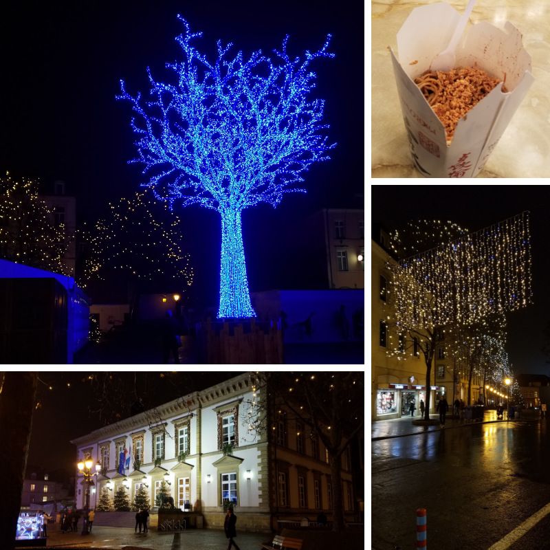 Blue Tree, Street Lights, Bami Noodles, decorated House, Luxembourg City Christmas Market