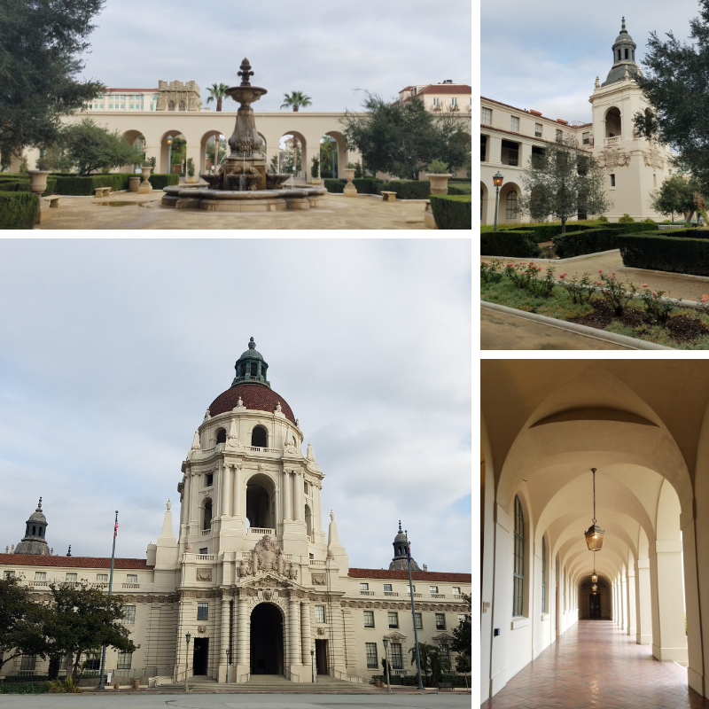 Pasadena City Hall, Courtyard Fountain, Arched Hallways, Pasadena CA