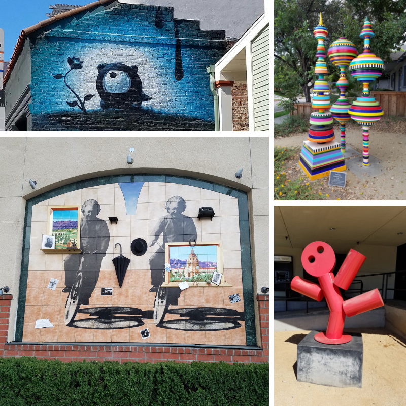 Public Art, Teddy Bear mural, Topiaries, Red Fat Guy statue, Einstein mural, Pasadena CA