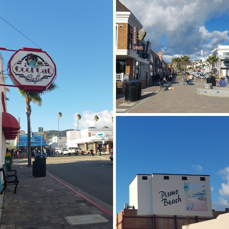Collage of restaurants, sidewalks and murals in Pismo Beach, CA