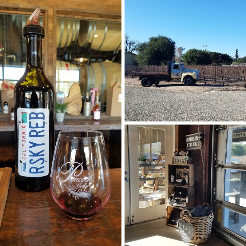 Collage of Risky Reb wine bottle and glass, truck on the grounds of Peacock Cellars vineyards, items for sale at the winery shop