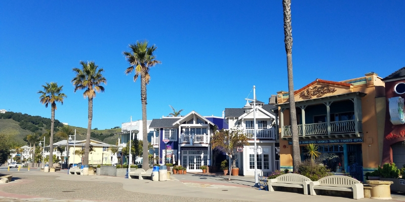 Storefronts along Avila Beach Promenade