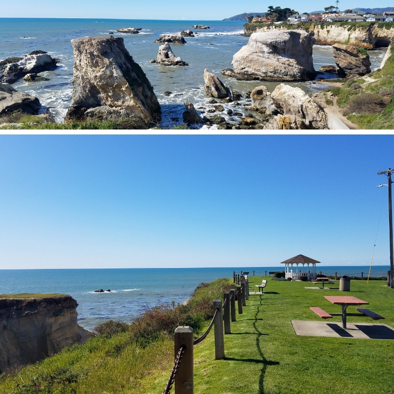 Collage of rocky coastline and grassy area with picnic tables and Gazebo at Dinosaur Caves Park in Pismo Beach CA