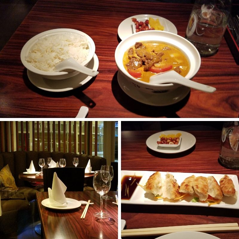 Curry with Rice, Fried Dumplings, Elegant table setting at Maximini