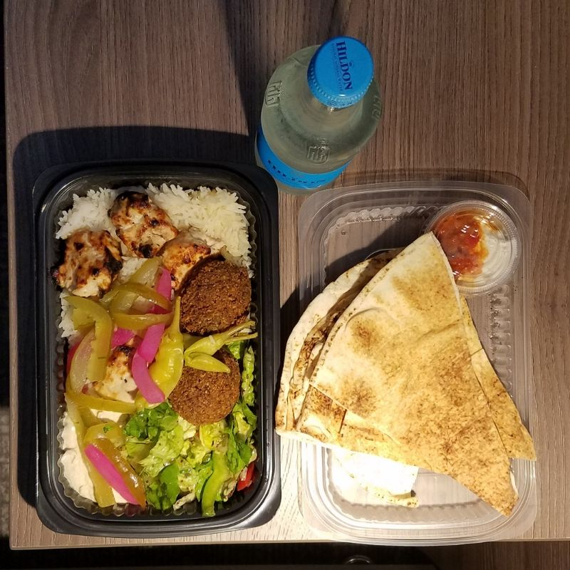 Ya Halal Falafel, Chicken w Rice, Salad, Pita, Water