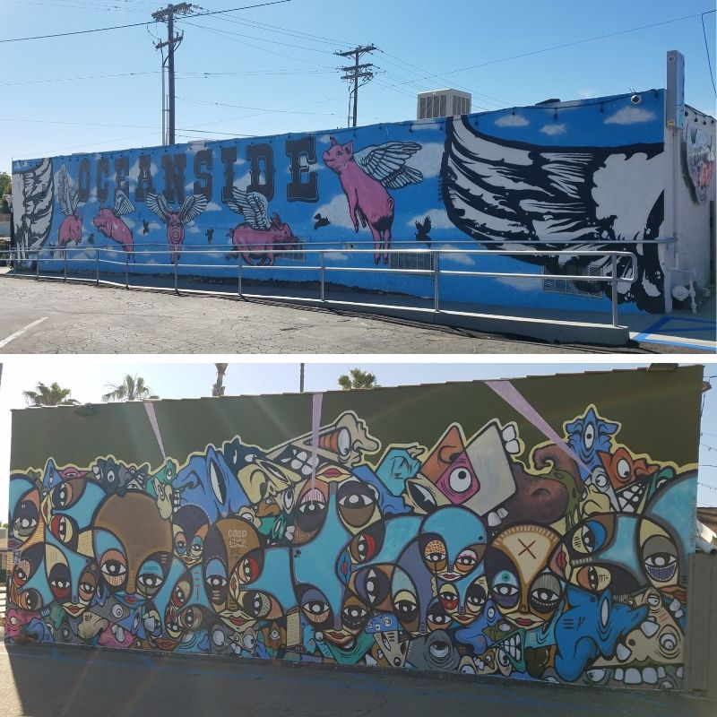 Two murals: Flying Pigs by BB Bastidas and Faces by Kris Markovich