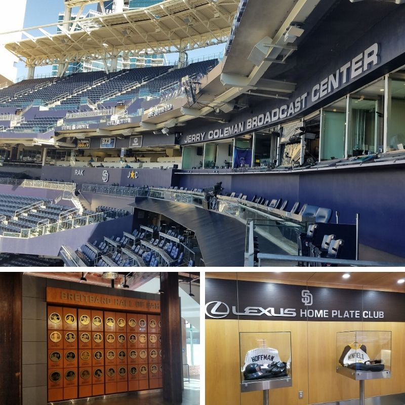 San Diego Padres Petco Park Press Box, Breitbard Hall of Fame, and souvenir jerseys.