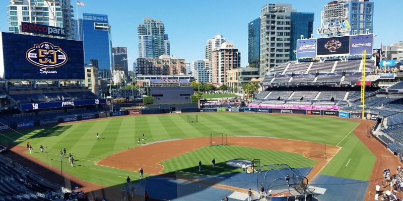 Looking down at the baseball field Petco Park in San Diego CA.