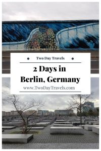 Pinterest Pin with images of the Berlin Wall and Memorial of Murdered Jews in Europe