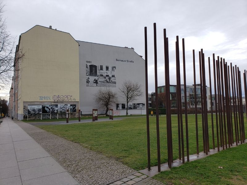 Steel Rods stand in for the Berlin Wall at Bernauer Strasse