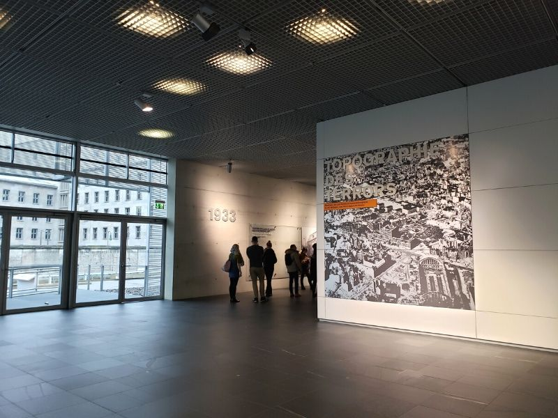 Inside lobby of the Topography of Terror Museum in Berlin